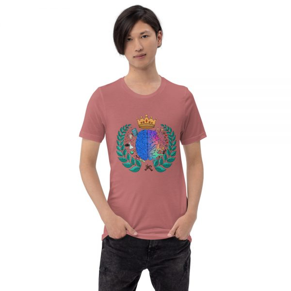 Man wearing Mauve short sleeved Spring Collection Harmony T-Shirt front view The Ashe Academy Store