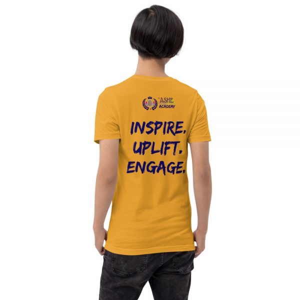 Man wearing Mustard short sleeved Spring Collection Harmony T-Shirt back view The Ashe Academy Store