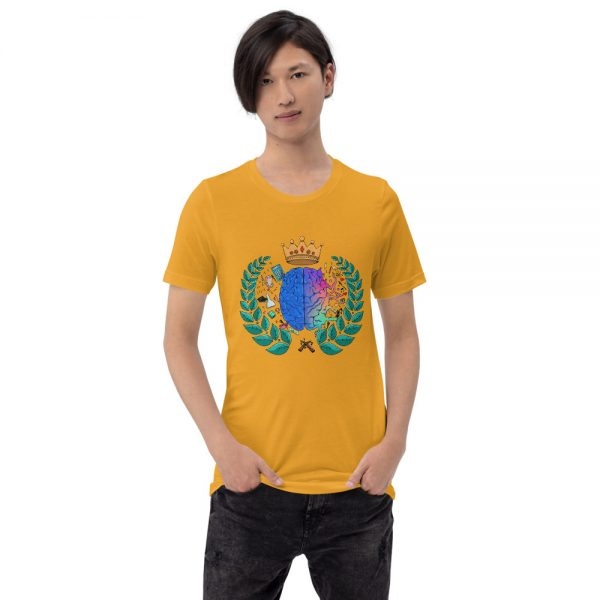 Man wearing Mustard short sleeved Spring Collection Harmony T-Shirt front view The Ashe Academy Store