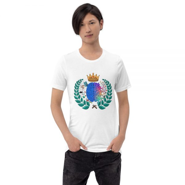 Man wearing White short sleeved Spring Collection Harmony T-Shirt front view The Ashe Academy Store