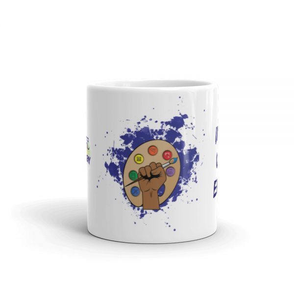 11oz Spring Collection Arts & STEM Pallet Mug with the Inspire. Uplift. Engage tagline center viewpoint The Ashe Academy Store