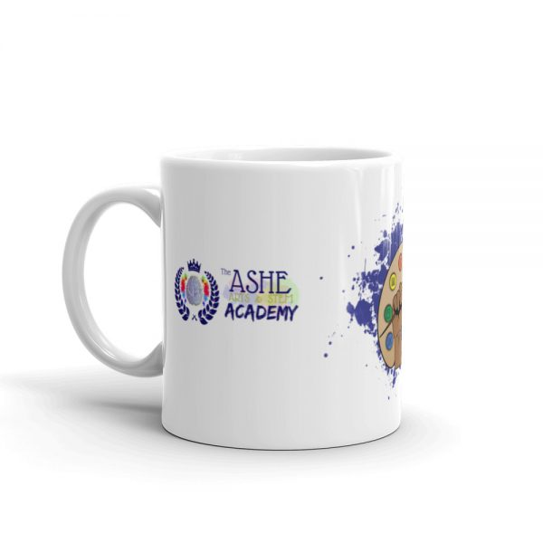11oz Spring Collection Arts & STEM Pallet Mug with the Inspire. Uplift. Engage tagline and handle on the left The Ashe Academy Store