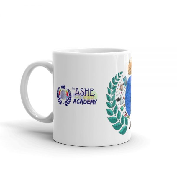 11oz Spring Collection Harmony Mug with the Inspire. Uplift. Engage. tagline and handle on the left The Ashe Academy Store