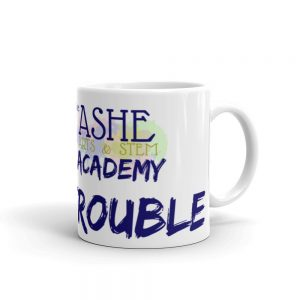 11oz Good Trouble Mug with The Ashe Academy logo and handle on the right The Ashe Academy Store