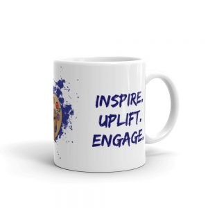 11oz Spring Collection Arts & STEM Pallet Mug with the Inspire. Uplift. Engage tagline and handle on the right The Ashe Academy Store