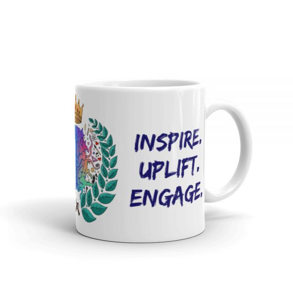 11oz Spring Collection Harmony Mug with the Inspire. Uplift. Engage. tagline and handle on the right The Ashe Academy Store