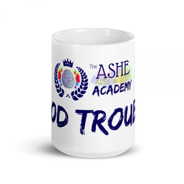 15oz Good Trouble Mug with The Ashe Academy logo center viewpoint The Ashe Academy Store