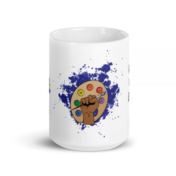 15oz Spring Collection Arts & STEM Pallet Mug with the Inspire. Uplift. Engage. tagline center viewpoint The Ashe Academy Store