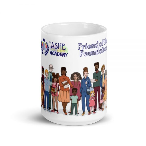 15oz Friend of the Foundation Mug with Illustration of people center profile The Ashe Academy Store