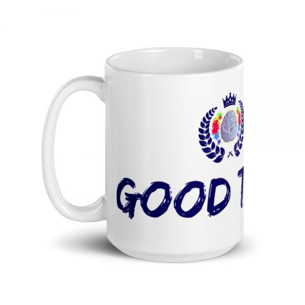 15oz Good Trouble Mug with The Ashe Academy logo and handle on the left The Ashe Academy Store