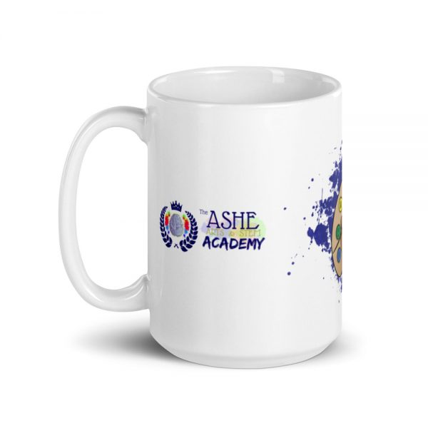 15oz Spring Collection Arts & STEM Pallet Mug with the Inspire. Uplift. Engage. tagline and handle on the left The Ashe Academy Store