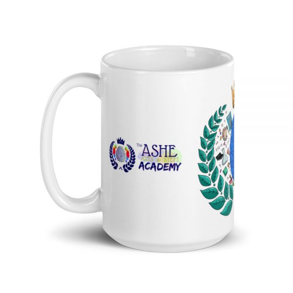 15oz Spring Collection Harmony Mug with the Inspire. Uplift. Engage. tagline and handle on the left The Ashe Academy Store