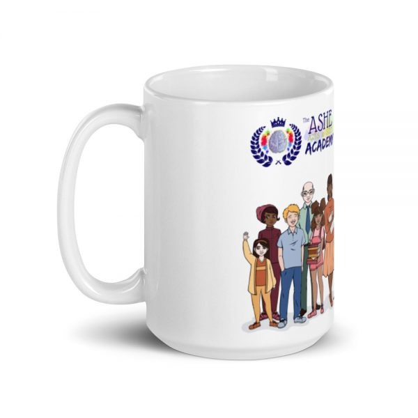 15oz Friend of the Foundation Mug and Illustration of people with handle on the left The Ashe Academy Store