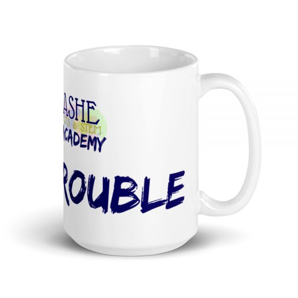 15oz Good Trouble Mug with The Ashe Academy logo and handle on the right The Ashe Academy Store
