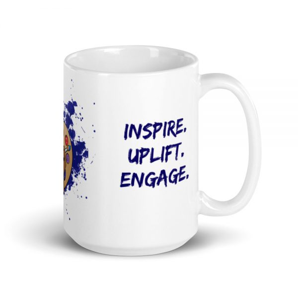 15oz Spring Collection Arts & STEM Pallet Mug with the Inspire. Uplift. Engage. tagline and handle on the right The Ashe Academy Store