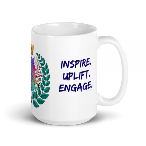 15oz Spring Collection Harmony Mug with the Inspire. Uplift. Engage. tagline and handle on the right The Ashe Academy Store