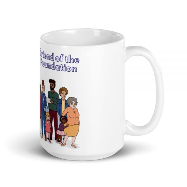15oz Friend of the Foundation Mug and Illustration of people with handle on the right The Ashe Academy Store