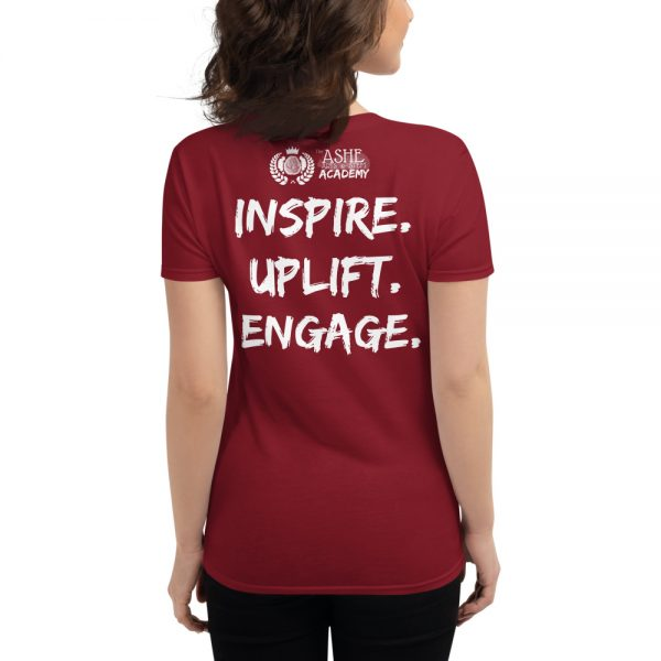 Woman wearing Independence Red short sleeved Spring Collection Harmony T-Shirt back view The Ashe Academy Store