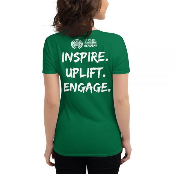 Woman wearing Kelly Green short sleeved Spring Collection Harmony T-Shirt back view The Ashe Academy Store