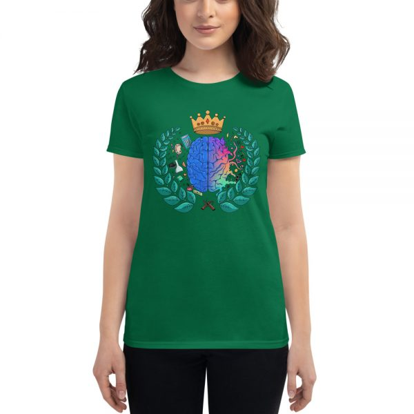 Woman wearing Kelly Green short sleeved Spring Collection Harmony T-Shirt front view The Ashe Academy Store
