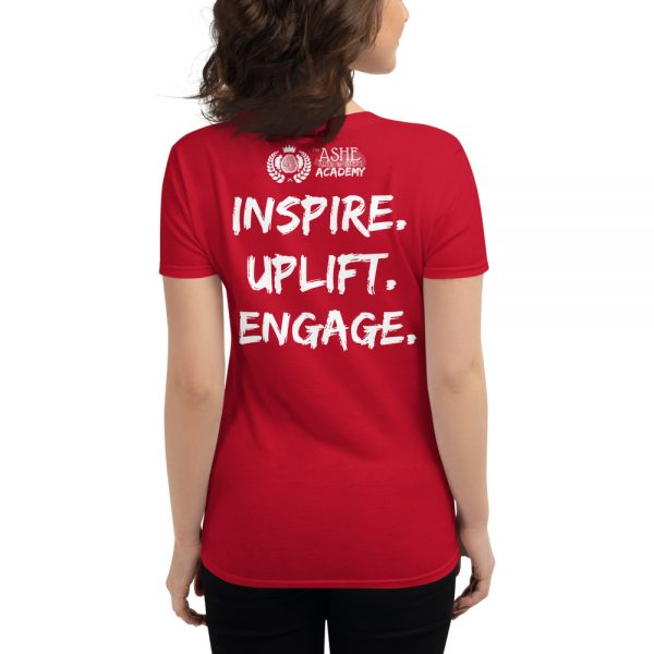 Woman wearing Red short sleeved Spring Collection Harmony T-Shirt back view The Ashe Academy Store