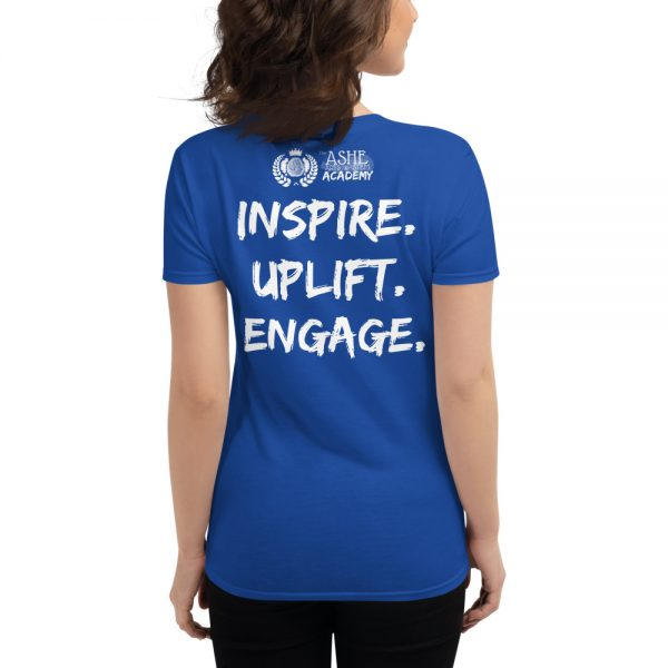 Woman wearing Royal Blue Heather short sleeved Spring Collection Harmony T-Shirt back view The Ashe Academy Store